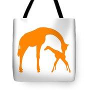 Giraffe In Orange And White Tote Bag