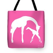 Giraffe In Pink And White Tote Bag