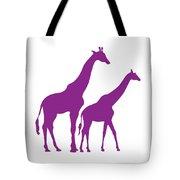 Giraffe In Purple And White Tote Bag