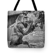 Gorilla Eats Black And White Tote Bag