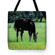 Grazing Horse In The Flowers Tote Bag