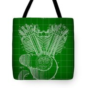 Harley Davidson Engine Patent 1919 - Green Tote Bag
