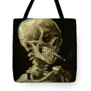 Head Of A Skeleton With A Burning Cigarette Tote Bag