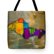 Honolulu Map And Skyline Watercolor Tote Bag