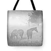 Horses In The Fog Tote Bag