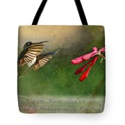 Hummingbird Morning With Verse Tote Bag