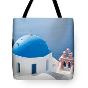 Iconic Blue Domed Churches In Oia Santorini Greece Tote Bag