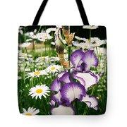 Iris And Daisies Tote Bag
