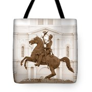 Jackson Square Statue In Sepia Tote Bag