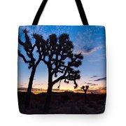 Josua Trees Beautifully Lit During Sunrise In Joshua Tree Nation Tote Bag