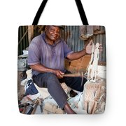 Kenya. December 10th. A Man Carving Figures In Wood. Tote Bag