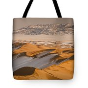 Khongor Sand Dunes In Winter Gobi Desert Tote Bag