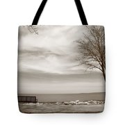 Lake And Park Bench Tote Bag