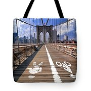 Lanes For Pedestrian And Bicycle Traffic On The Brooklyn Bridge Tote Bag