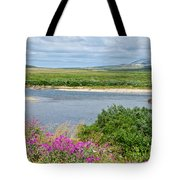 2-lay Of The Land-grizzly Bears In Moraine River In Katmai Np-ak Tote Bag