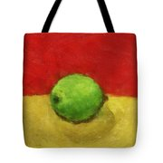 Lime With Red And Gold Tote Bag by Michelle Calkins