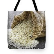Long Grain Rice In Burlap Sack Tote Bag