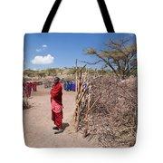 Maasai People And Their Village In Tanzania Tote Bag