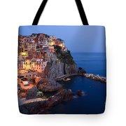 Manarola At Night In The Cinque Terre Italy Tote Bag