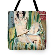 Matisse's Odalisque Seated With Arms Raised In Green Striped Chair Tote Bag
