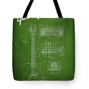 Mccarty Gibson Les Paul Guitar Patent Drawing From 1955 - Green Tote Bag by Aged Pixel