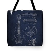 Mccarty Gibson Stringed Instrument Patent Drawing From 1969 - Navy Blue Tote Bag
