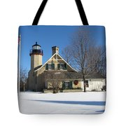 Mcgulpin Point Lighthouse In Winter Tote Bag