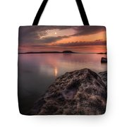 2 Mile Point Sunset And Moonrise Tote Bag