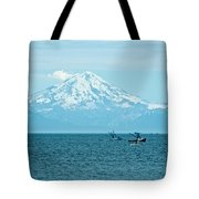 Mount Redoubt Across Cook Inlet From Ninilchik-ak   Tote Bag
