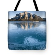 Mt. Michener And Ice On Abraham Lake Tote Bag