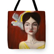 Natalie And Her White Bird Tote Bag