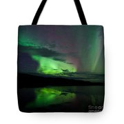 Night Sky Stars Clouds Northern Lights Mirrored Tote Bag