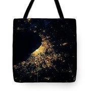 Night Time Satellite Image Of Chicago Tote Bag