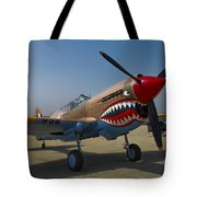 Nose Art On A Curtiss P-40e Warhawk Tote Bag