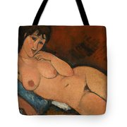 Nude On A Blue Cushion Tote Bag