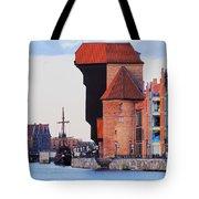 Old Port Crane In Gdansk Tote Bag