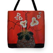 Orchids In A Pot On Orange Tote Bag