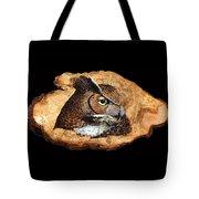 Owl On Oak Slab Tote Bag