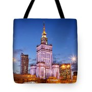 Palace Of Culture And Science At Dusk In Warsaw Tote Bag by Artur Bogacki