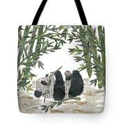 Panda Bear In Bamboo Bush Hand-torn Newspaper Collage Art  Tote Bag