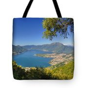 Panoramic View Over An Alpine Lake Tote Bag