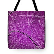 Paris Street Map - Paris France Road Map Art On Colored Backgrou Tote Bag