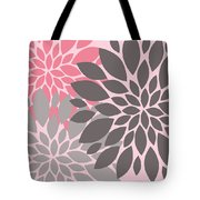 Pink Gray Peony Flowers Tote Bag