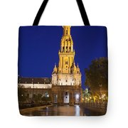 Plaza De Espana Tower In Seville Tote Bag