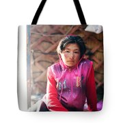 Portrait Of Young Kyrgyz Girl Inside A Yurt China Tote Bag