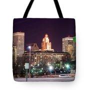 Providence Rhode Island Skyline At Night Tote Bag