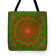 Psychedelic Spiral Vortex Green And Red Fractal Flame Tote Bag