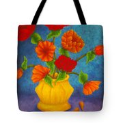Red And Orange Flowers Tote Bag