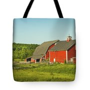 Red Barn And Fence On Farm In Maine Tote Bag