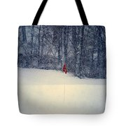 Red Flag On The Snow Covered Golf Course Tote Bag